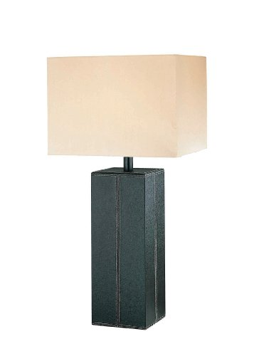 - Lite Source LS-2937DBRN/LTR Leatherman Collection Table Lamp, Dark Brown Leather with White Fabric Shade