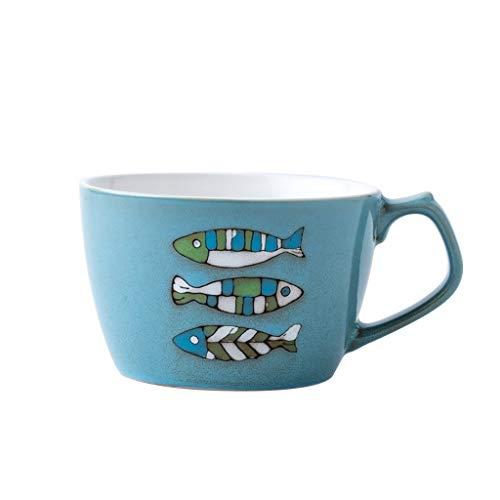 Nordic Large-Capacity Ceramic Mug, Large Oatmeal Cup, Breakfast Cup, Blue, 650ml