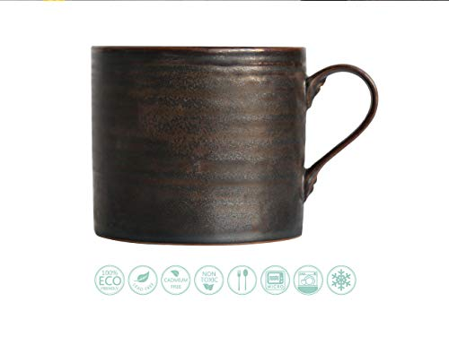 Eco-friendly 8 oz Funny Portable Coffee Cup, Stoneware Personalized Insulated Coffee Mug, Office Hot Water Cup, Vintage Large Tea Cup Ceramic, Annular Texture Metallic Glaze, Cast Iron ()