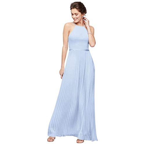David's Bridal Chiffon High-Neck Pleated Skirt Bridesmaid Dress Style F19971, Ice Blue, 24