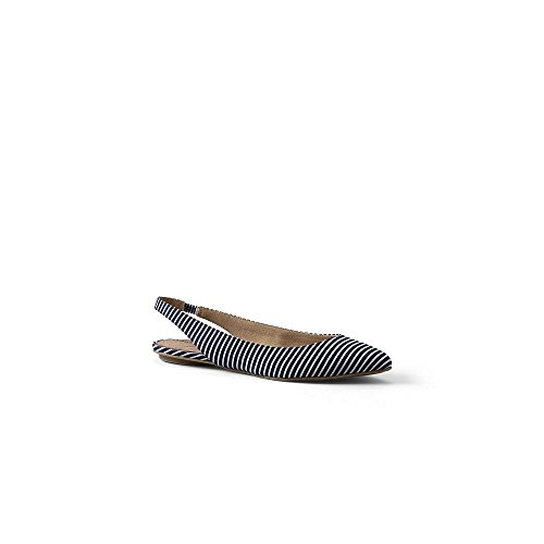 Lands' End Women's Lucy Pointed Toe Slingback Shoes, 7.5, Deep Sea Stripe