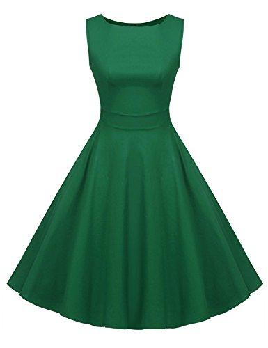 Vintage Vestido Mujer Acevog 50 Floral Vestidos Fiesta Falda Impresión Mangas de Años Verde Sin Z5TqwErT