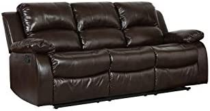Blackjack Furniture Portico Collection Leather Air Mid Century Modern Living Room Reclining, Sofa, Chocolate
