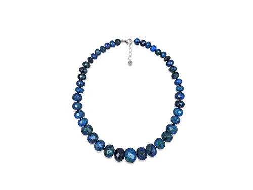 MGR Graduated Azurite Hand Beaded Rondelle Stone Short Collar Statement Necklace.