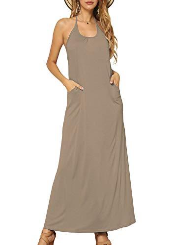 levaca Women's Summer Loose Plain Flowy Oversize Long Maxi Dress Sundress Khaki S