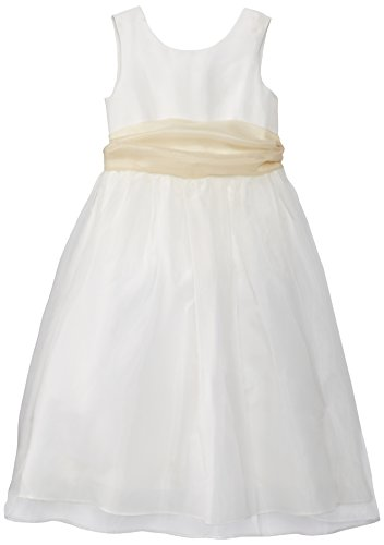 Us Angels Big Girls' Ivory Dress with Sash, Ivory/Champagne, 10 by US Angels