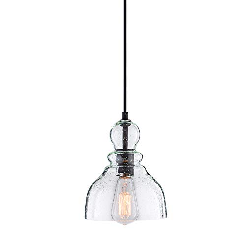 Lanros Industrial Mini Pendant Lighting with Handblown Clear Seeded Glass Shade, Adjustable Edison Farmhouse Kitchen Lamp for Kitchen Island, Restaurants, Hotels and Shops, (Lamp Light Glass Pendant)