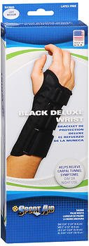 Sport Aid Black Deluxe Wrist Brace Left Medium - 1 ea., Pack of 5 by SportAid