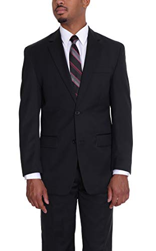 - Michael Kors Mens Solid Black Two Button Wool Suit with Flat Front Pants