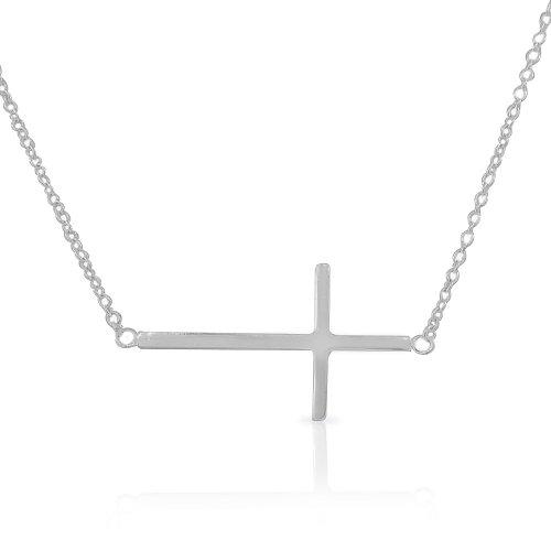 Sterling Sideways Horizontal Pendant Necklace