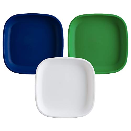 Re-Play Made in USA 3pk Plates with Deep Sides for Easy Baby, Toddler, Child Feeding - Kelly Green, White, Navy Blue (Nautical)