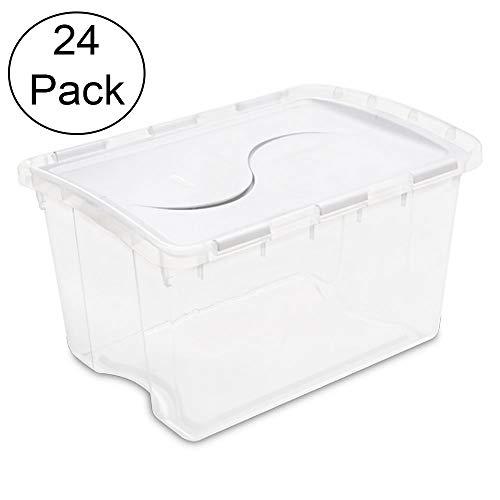 e 48 Quart Clear Base Hinged Lid Storage Box Tote (24 Pack) ()