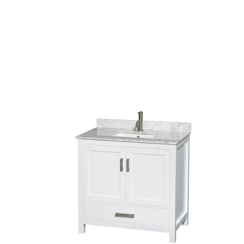Undermount Bathroom Sink Linen - Wyndham Collection Sheffield 36 inch Single Bathroom Vanity in White, White Carrera Marble Countertop, Undermount Square Sink, and No Mirror