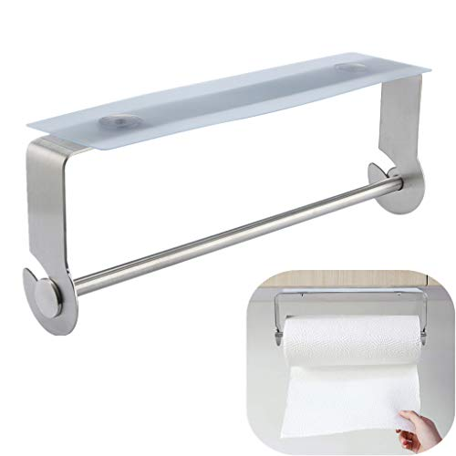 SUJING Adhesive Paper Towel Holder Under Cabinet for Kitchen Bathroom Brushed Stainless Steel Paper Towel Holder - Ship from US