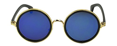 Oversized Retro Round Color Mirrored Vintage Fashion Sunglasses (Gold / Blue Lens)