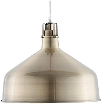 Light Society Banbury Pendant Light, Brushed Brass Shade, Modern Industrial Farmhouse Lighting Fixture LS-C167-BRS