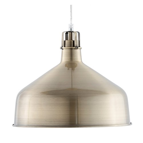 Light Society Banbury Pendant Light, Brushed Brass Shade, Modern Industrial Farmhouse Lighting Fixture (LS-C167-BRS) Antique Gold Chandelier