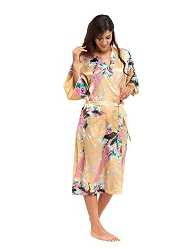 colorful-space Blue Female Silk Rayon Robes Gown Kimono Yukata Women Sexy Lingerie Sleepwear,As The Photo - 3/4 Nailhead Sleeve