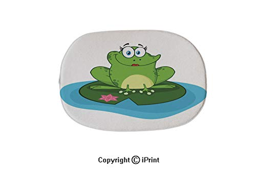 - Oval Bath Mat Non-Slip Carpets Bathroom Doormats Floor Rugs Kitchen Mats,Frog Female Cartoon Mascot Character in A Pond,19.7