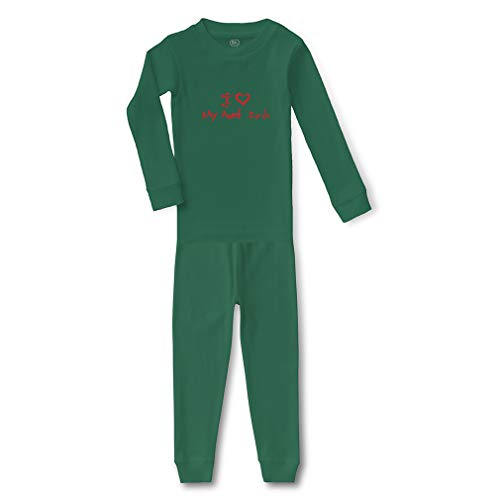 I (Heart) My Aunt Sarah Cotton Crewneck Boys-Girls Infant Long Sleeve Sleepwear Pajama 2 Pcs Set Top and Pant - Kelly Green, -