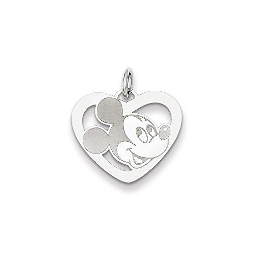 Icecarats Or Blanc Créatrice De Bijoux De 14K Charme Coeur Disney Mickey