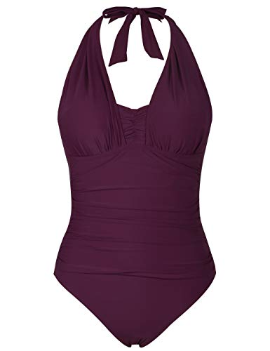 - Firpearl Women's One Piece Bathing Suits Halter Ruched Monokini Swimwear 16 Burgundy