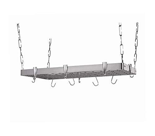 Wood & Style Premium Concept Housewares Stainless-Steel Hanging Pot Rack Rectangular Storage