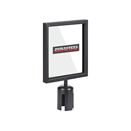DuraSteel Stanchion Sign Holder - Double Sided 8'' x 11'' Sign Frame with Plexiglass Cover - Fit with DuraSteel VIP Series Stanchion - Crowd Control & Queue Barrier