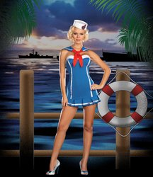 Women's Costume: Sailor Stormy Sky-Large PROD-ID : 1458090 (Sequin Sailor Costume Hat)
