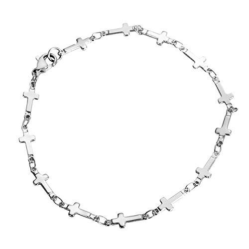 Lindsie-Box - 316L Stainless Steel Link Chain Bracelet Silver Tone Star Cross Heart Multiple Charm Bracelet Women Men Jewelry Gifts