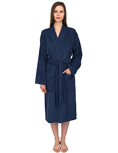 TowelSelections Women's Robe Turkish Cotton Terry Kimono Bathrobe X-Small/Small Twilight - Men Petite
