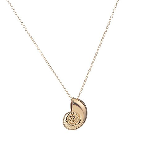 Meiligo Fashion Woman Conch,Snail,Shell Charm Pendant Necklace (Gold)]()