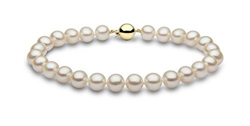 Kimura Pearls Femme  18carats (750/1000)  Or jaune #Gold Rond  Perle d'eau douce chinoise Blanc Perle FINENECKLACEBRACELETANKLET