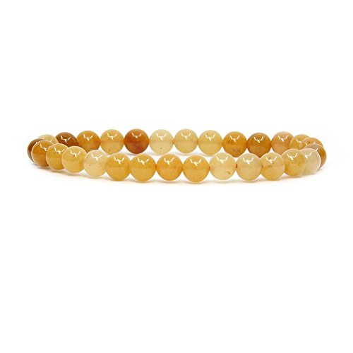 Natural Multicolor Yellow Jade Gemstone 6mm Round Beads Stretch Bracelet 7 Unisex