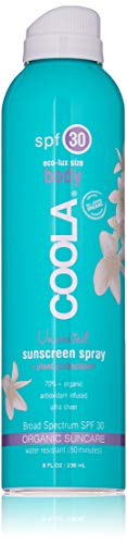 COOLA Organic Sunscreen Body Spray | SPF 30 | Certified Organic Ingredients | Farm to Face | Ultra Sheer | Eco-Lux Size | Continuous Spray | Water Resistant | Unscented
