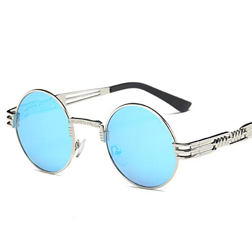 Pausseo Women Men Vintage Retro Round Frame Glasses Unisex Integrated Aviator Mirrored Lens Sunglasses Summer Sports Running Cycling Fishing Driving Hiking Radiation Protection Summer Glasses