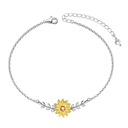 Sterling Silver Sunflower with CZ Warmth Sunshine Jewelry Bracelet Bangle Adjustable Chain for Women Girls
