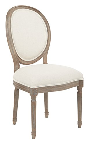 Avenue Six AVE SIX Lillian Oval Back Chair with Rustic Finish Wood Frame, Linen