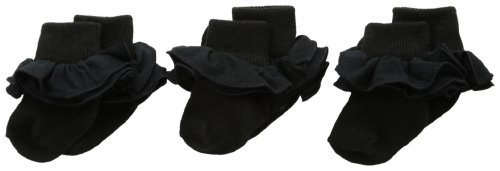 Jefferies Socks Baby Girls' Misty Ruffle Turn Cuff Socks 3 Pair Pack, Black, Infant