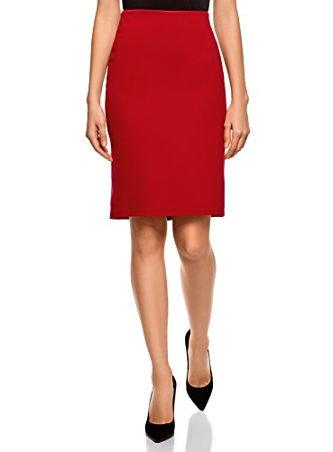 4500n oodji Fente Femme Jupe avec Maille en Collection Rouge w8xgvwqPO