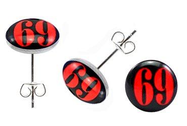 Boucles d'Oreille en Mode en Acier Inoxydable -Numero 69 symbole en couleur Rouge