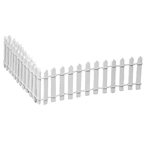 (Miniature Fairy Garden White Wood Picket Fence, 18