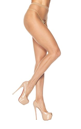 Leg Avenue Women's Crotchless Pantyhose,Beige Lingerie Crotchless Pantyhose