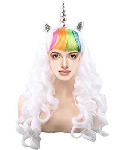 kaste Women Princess Rainbow Unicorn Wig Long Curly Hair Wigs Halloween Party Cosplay (QY-6973-1)]()