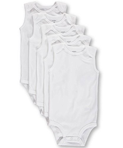 Carters Basic White SLEEVELESS Bodysuits (18 Months) 5 Pack