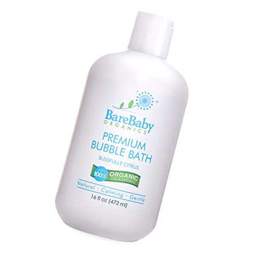 Organic Baby Bubble Bath with Aloe, Cucumber, Citrus Essential Oils - Safe, Gentle, Calming - Eczema Friendly - Paraben, Dye, Gluten, and Sulfate Free - 16 oz (Bath Citrus Bubble Scented)