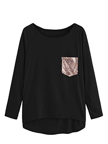 (SheIn Women's Long Sleeve Dip Hem Sequin Casual T Shirt Tee Top Black XL)