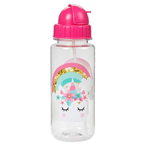 Unicorn Face Flip Top Water Bottle: Tri-Coastal Design Unicorn Face Water Bottles for Girls - Kids Leak Proof Hydration Cup with Flip Top Lid and Straw - Reusable BPA Free Plastic Bottle - 16.9 Oz (Water Sippy For Top Bottles Cup)