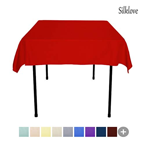 (SilkLove Tablecloth - 54 x 54 Inch -Red-Square Polyester Table Cloth, Wrinkle,Stain Resistant - Great for Buffet Table, Parties, Holiday Dinner &)