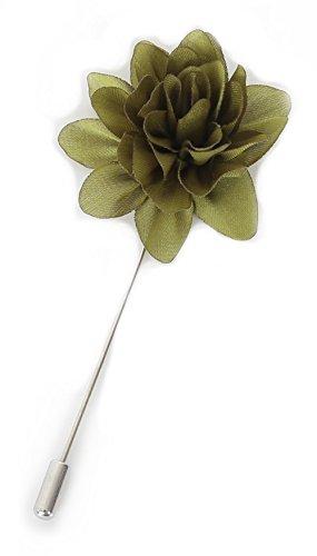 Flairs New York Gentleman's Essentials Premium Handmade Flower Lapel Pin Boutonniere (Olive Green [Daisy])